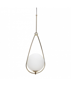 Lamp, glass/metal, white/brass