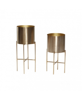 pot w/leg metal brass set de 2